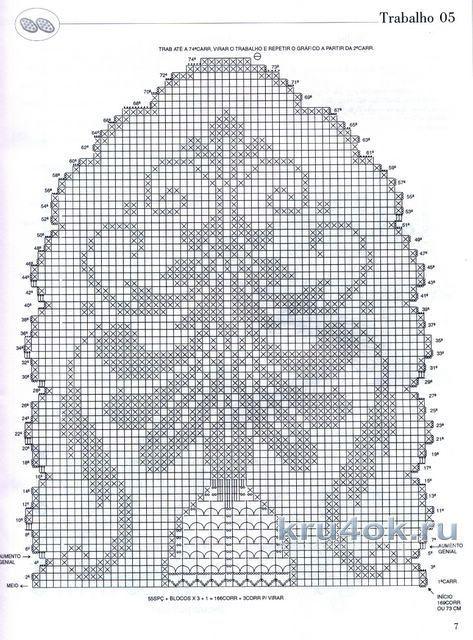 Схема вязания овальной салфетки крючком