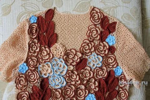 Женский топ крючком. Работа Светланы вязание и схемы вязания