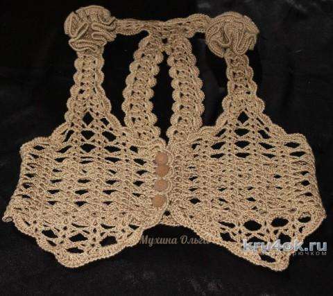 Жилет крючком. Работа Мухиной Ольги вязание и схемы вязания