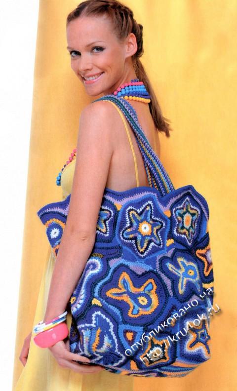 пляжная сумка крючком в морском стиле