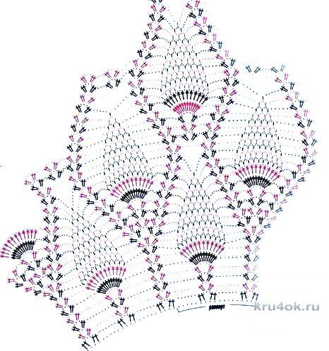 Ажурная накидка крючком. Работа Галины Ерониной вязание и схемы вязания