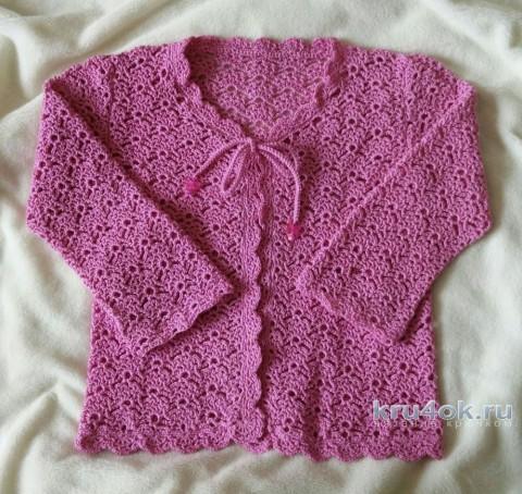 Кофточка для девочки крючком. Работа Александры Карвелис вязание и схемы вязания