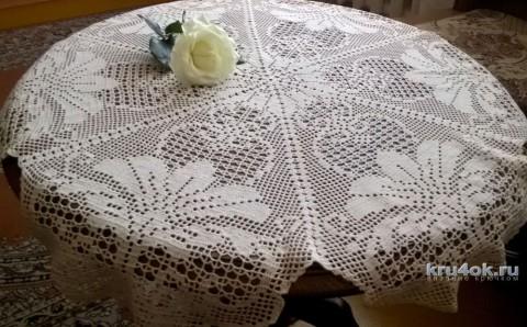 Круглая скатерть в филейной технике. Работа Елены Шевчук вязание и схемы вязания