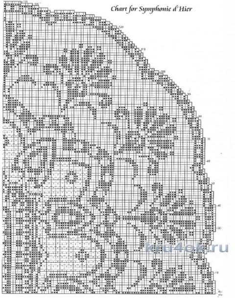 Схема вязания овальной скатерти крючком