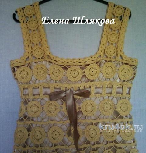 Платье крючком Солнцекруг. Работа Елены Шляковой вязание и схемы вязания