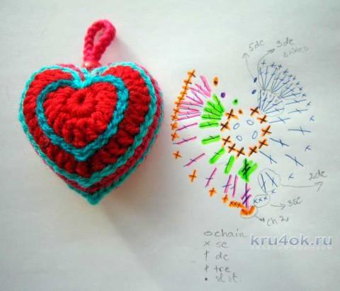 Сердечко крючком. Работа Мухиной Ольги вязание и схемы вязания