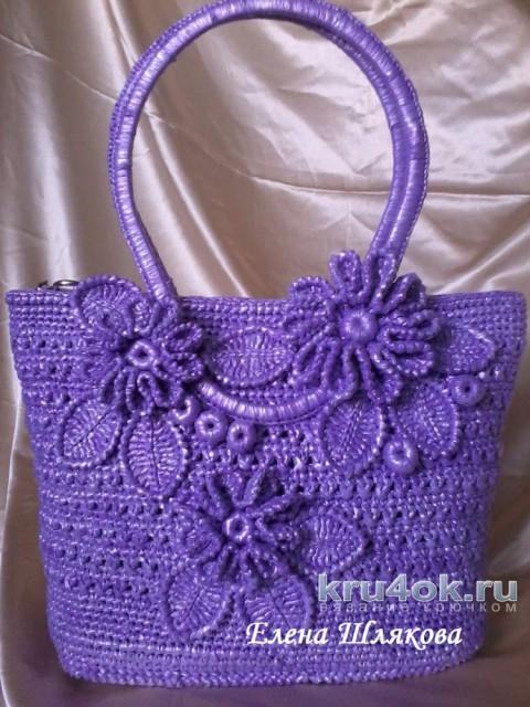 Вязаная крючком сумка из пакетов. Работа Елены Шляковой вязание и схемы вязания
