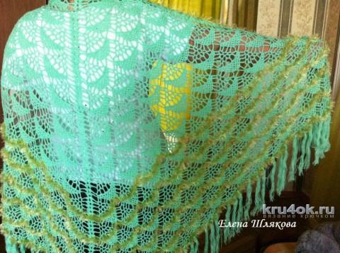 Зеленая шаль крючком. Работа Елены Шляковой вязание и схемы вязания