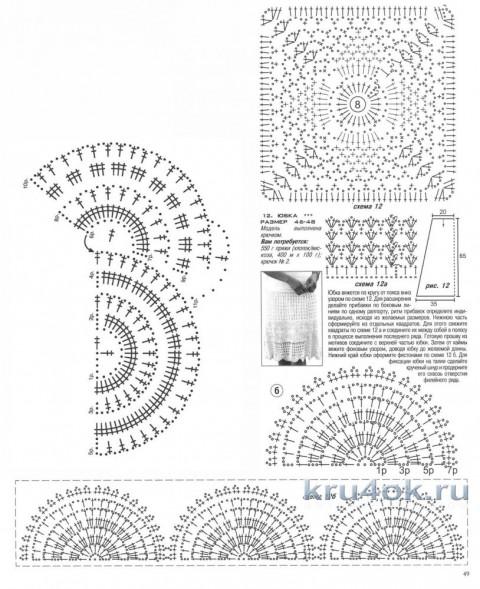 Женская юбка крючком. Работа Татьяны Колесниченко Тарчевской вязание и схемы вязания