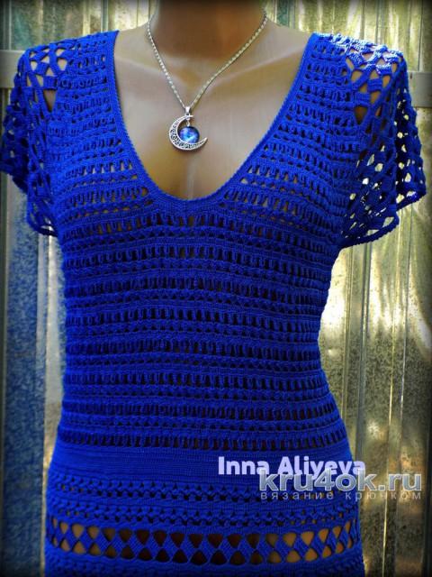 Женской платье крючком. Работа Inna Aliyeva вязание и схемы вязания