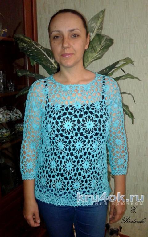 Бирюзовый пуловер крючком. Работа Евгении Руденко