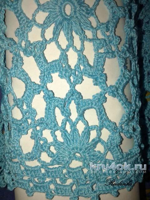 Бирюзовый пуловер крючком. Работа Евгении Руденко вязание и схемы вязания