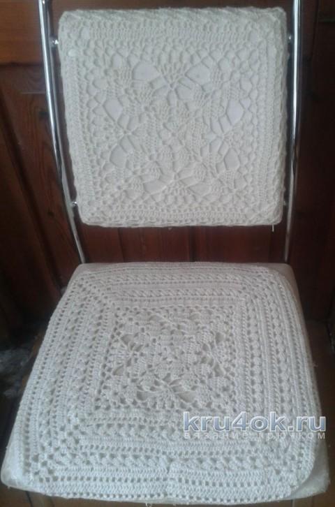 Чехол на стул крючком. Работа Галины Коржуновой вязание и схемы вязания