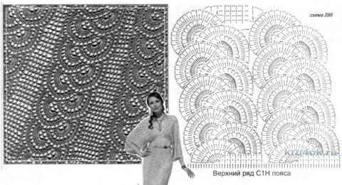 Платье крючком. Работа Татьяны КолесниченкоТарчевскойТриКОТАж вязание и схемы вязания