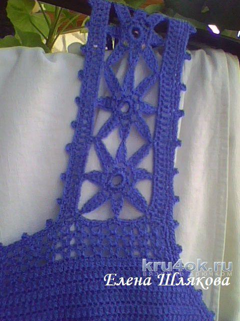 Платье Синие звездочки крючком. Работа Елены Шляковой вязание и схемы вязания