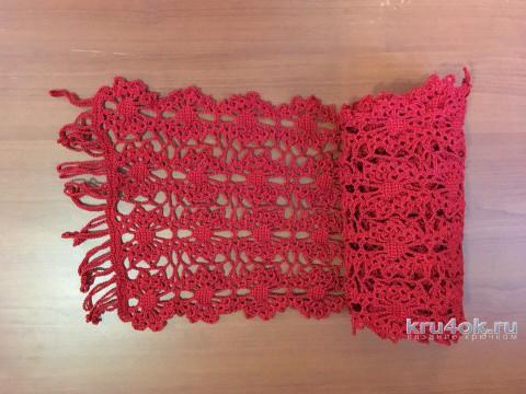 Шарфик из ленточного кружева. Работа Татианы вязание и схемы вязания