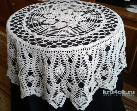 Вязаная ажурная скатерть. Работа Галины Коржуновой вязание и схемы вязания