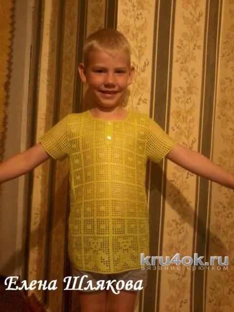 Футболка - поло для мальчика крючком. Работа Елены Шляковой вязание и схемы вязания
