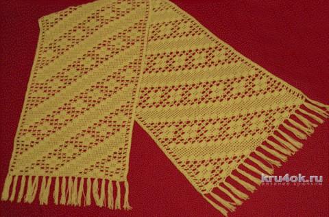 Палантин крючком. Работа Надежды вязание и схемы вязания