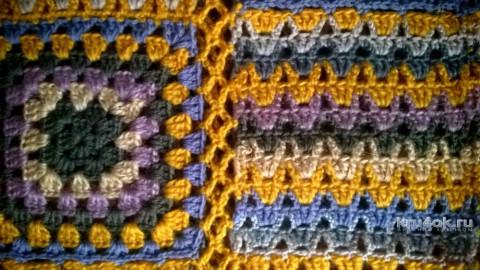 Разноцветная туника из квадратов крючком. Работа Елены Шевчук вязание и схемы вязания
