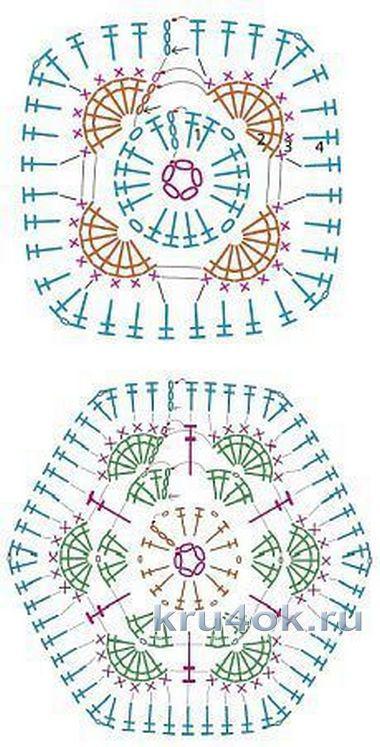 Трицератопс из мотивов африканский цветок. Работа Евгении Руденко вязание и схемы вязания