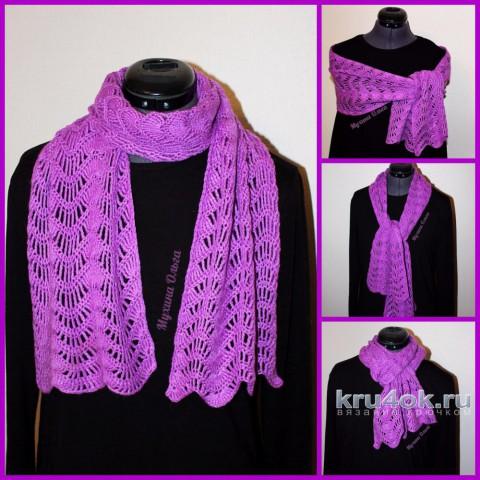 теплый ажурный шарф - палантин
