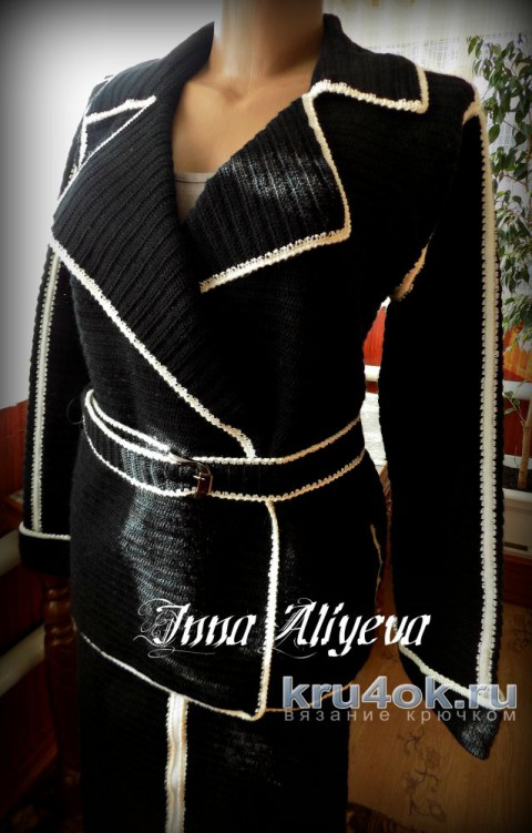 Женский костюм крючком из полушерсти. Работа Inna Aliyeva вязание и схемы вязания