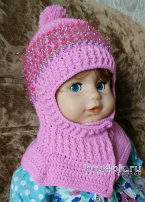 Зимняя шапка - шлем крючком. Работа Александры Карвелис вязание и схемы вязания