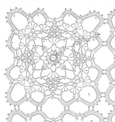 схема вязания красивого квадратного мотива крючком