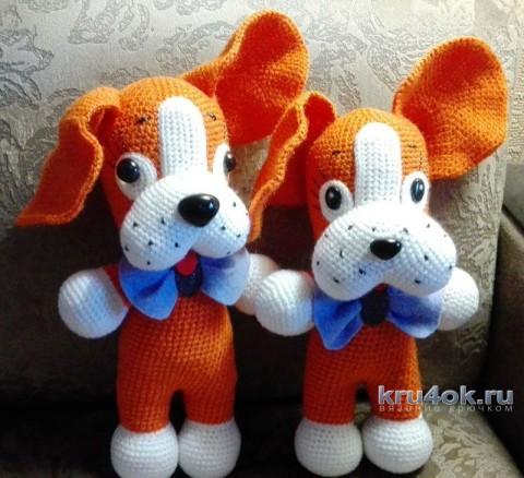 Игрушка собачка крючком. Работа Елены Аистовой вязание и схемы вязания