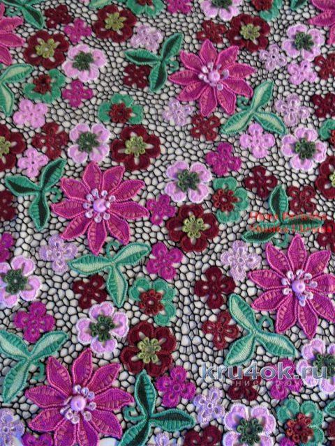 Блуза Цветочная россыпь в технике ирландского кружева. Работа Елены Павленко вязание и схемы вязания
