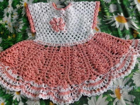 Платье для девочки крючком. Работа Катерины Петяниной вязание и схемы вязания