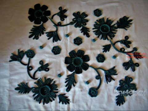 Платье Изумруд в технике ирландского кружева. Работа Елены Павленко вязание и схемы вязания