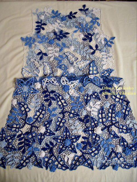 Платье Лазурь лета 2 в технике ирландского кружева. Работа Елены Павленко вязание и схемы вязания