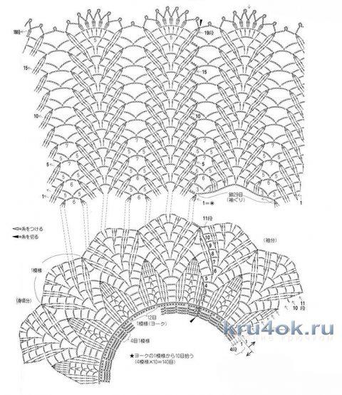 Туника крючком Листья лаванды. Работа Аллы вязание и схемы вязания