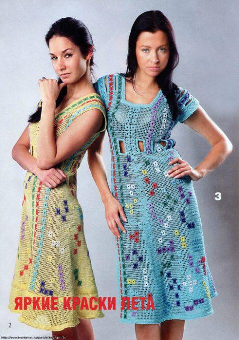 Филейное вязание, платье с разноцветной вышивкой
