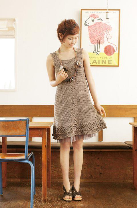 Платье из японского журнала,филейное вязание
