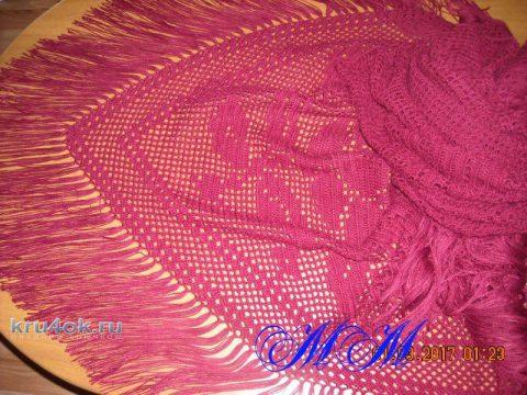Филейная шаль с розами. Работа Марины Михайловны вязание и схемы вязания