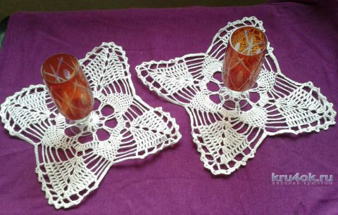 Комплект салфеток крючком. Работа Галины Коржуновой вязание и схемы вязания