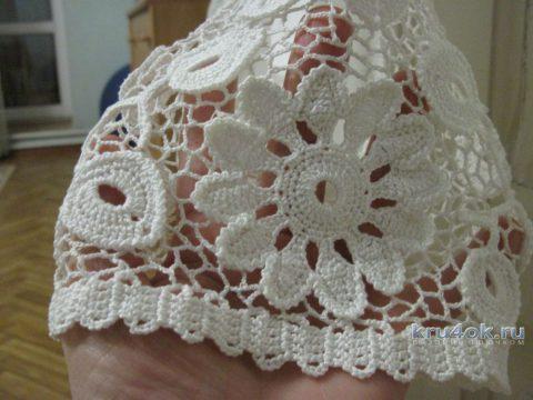 Отделка футболки кружевом. Работа Любови вязание и схемы вязания