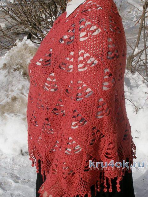 Пончо Мандариновое дерево. Работа Елены вязание и схемы вязания