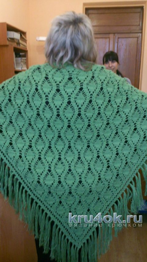 Теплая шаль крючком. Работа Ольги вязание и схемы вязания
