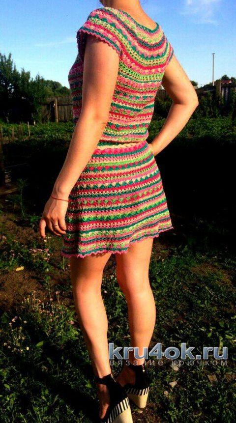 Вязаное крючком платье. Работа Марии Дайнеко вязание и схемы вязания
