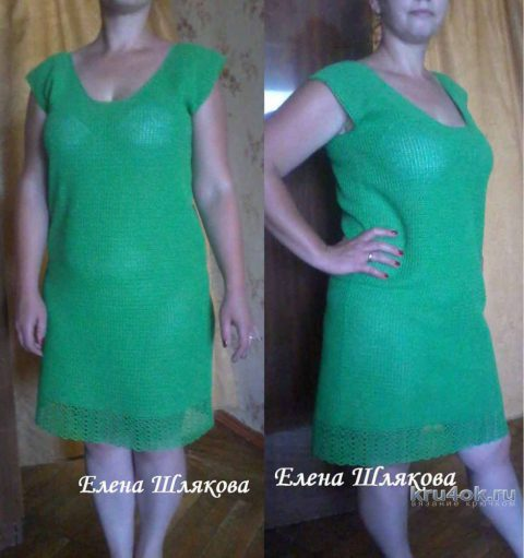 Женское платье крючком. Работа Елены Шляковой