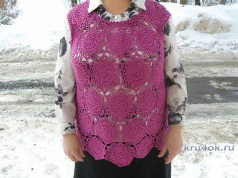 Ажурная жилетка из мотивов. Работа Елены вязание и схемы вязания