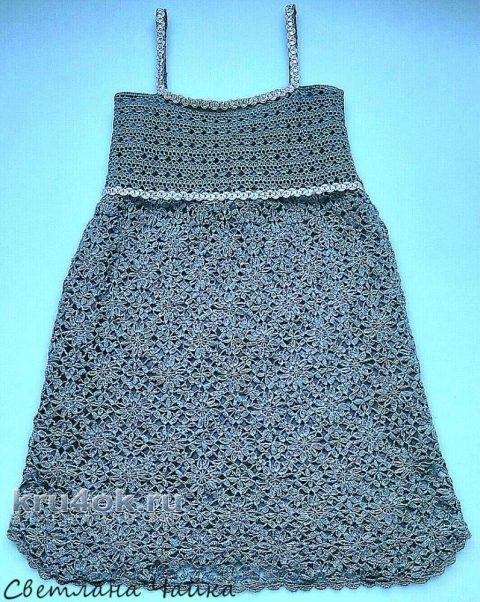Ажурный сарафан Серый жемчуг. Работа Светланы Чайка вязание и схемы вязания