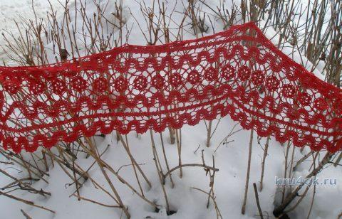 Красный шарф в технике брюггское кружево. Работа Елены вязание и схемы вязания