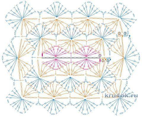 Накидка - пончо крючком. Работа Анны Касьяновой вязание и схемы вязания