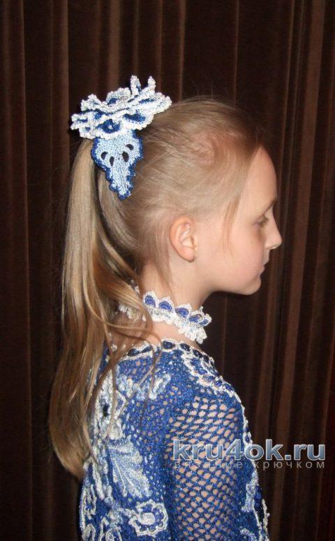 Платье для девочки Сапфировая сказка. Работа Марии Казановой вязание и схемы вязания