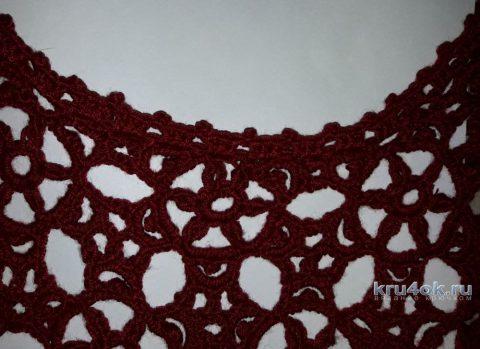 Пуловер крючком Рубиновая россыпь. Работа Евгении Руденко вязание и схемы вязания